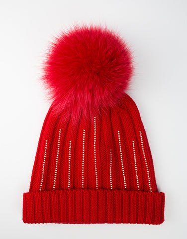Girls 100% lana wool red hat with pom-pom