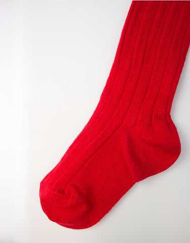 Kids red cotton tights