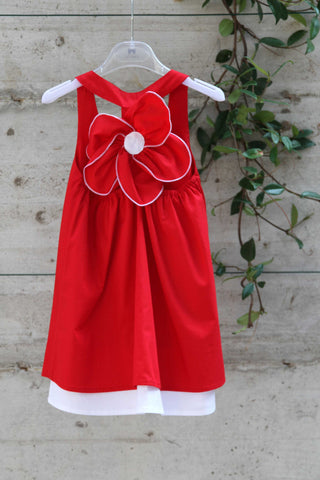 Girls red cotton dress with flower - Piccola Ludo