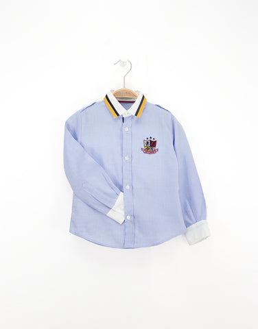 Blue Boys Cotton Shirt With Logo