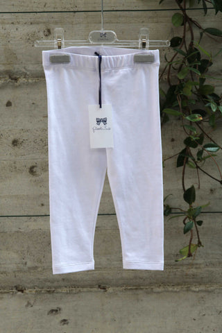Girls white cotton leggings - Piccola Ludo