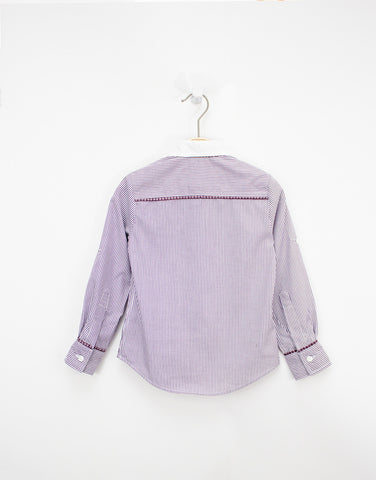 Boys Stripped Violet Cotton Shirt