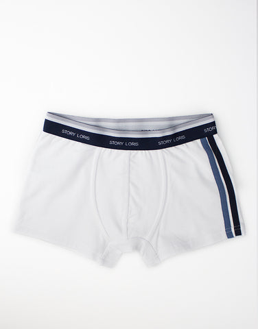 Boys white cotton boxer shorts with logo on waistband