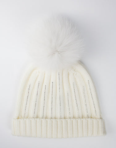 Kids 100% lana wool ivory hat with pom-pom