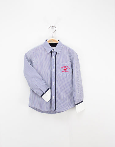Boys Stripped Blue Cotton Shirt