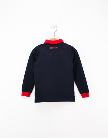 Boys Navy Long-sleeve Polo Shirt
