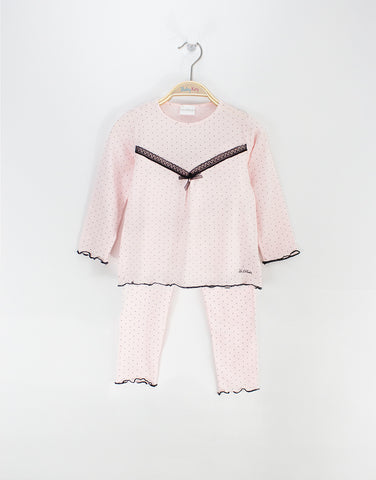 Girls Pink Pyjamas With Lace Trim And Bow