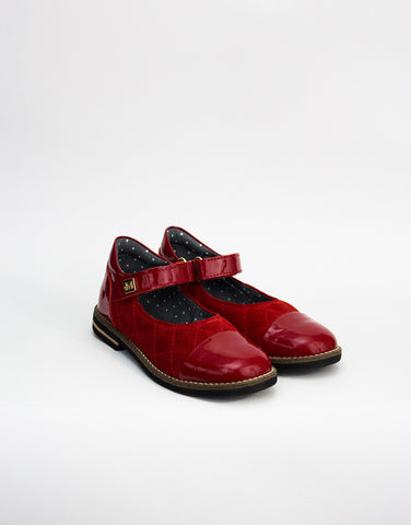 Red Patent Leather And Suede Girls Shoes