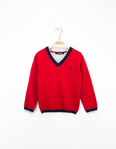 Boys Red Cotton Knitted Sweater