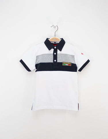 Boys White Cotton Polo T-shirt