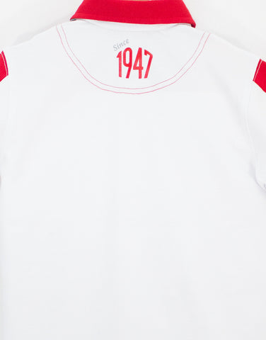 Boys White Cotton '1947' Polo Shirt