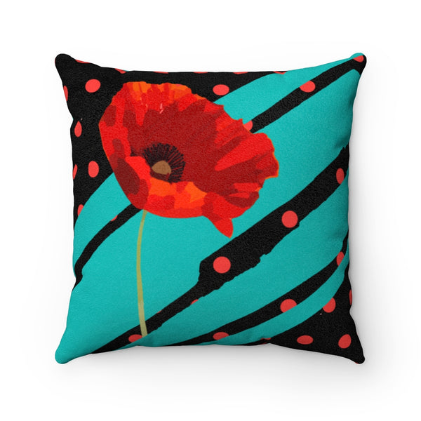 Poppy Dot Tiffany on Black Faux Suede Square Pillow | Abi C Designs