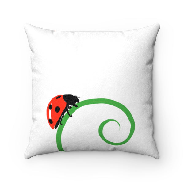 Ladybug White Faux Suede Square Pillow | Abi C Designs