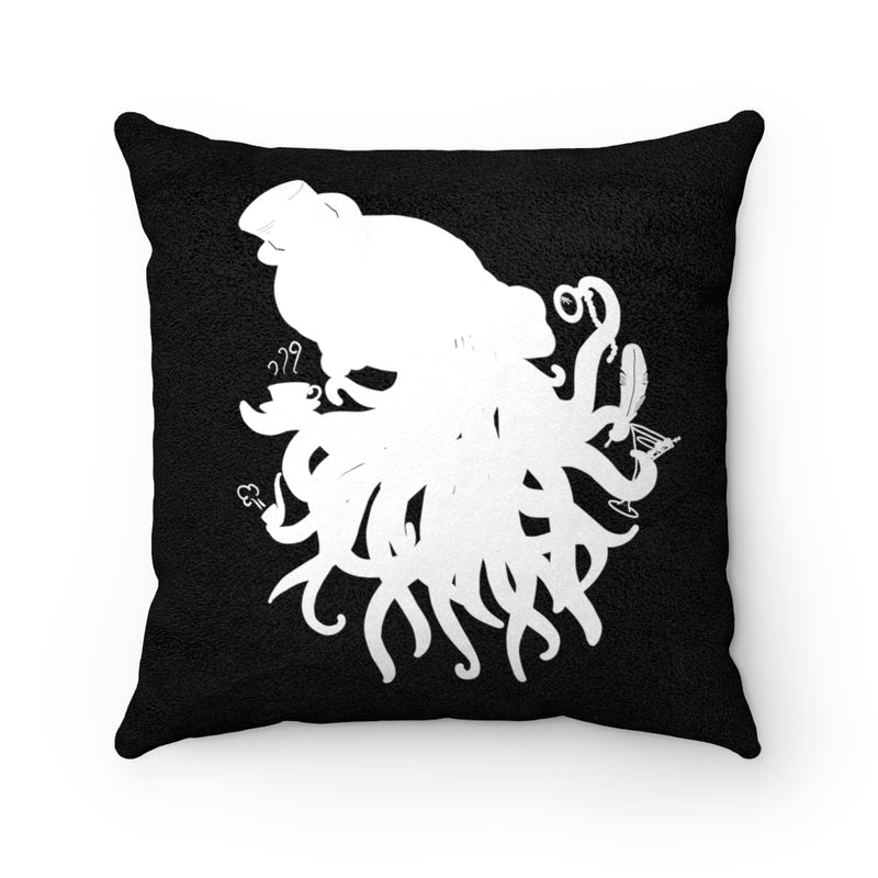 Cthulhu Gentleman Black & White Faux Suede Square Pillow | Just Abi Housewares Collection