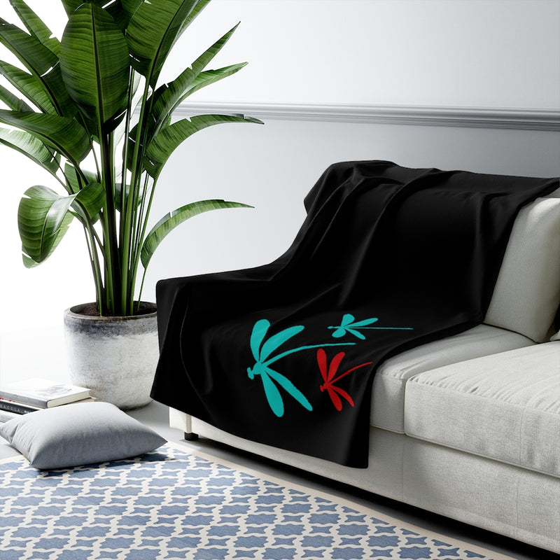 Cozy black sherpa dragonfly throw