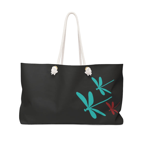 Dragonflies Black Weekender Bag | Abi C Designs