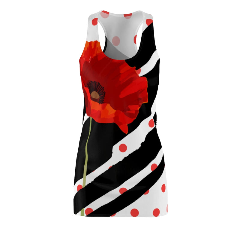 Poppy Dot Black on White Racerback Dress | Abi C Designs