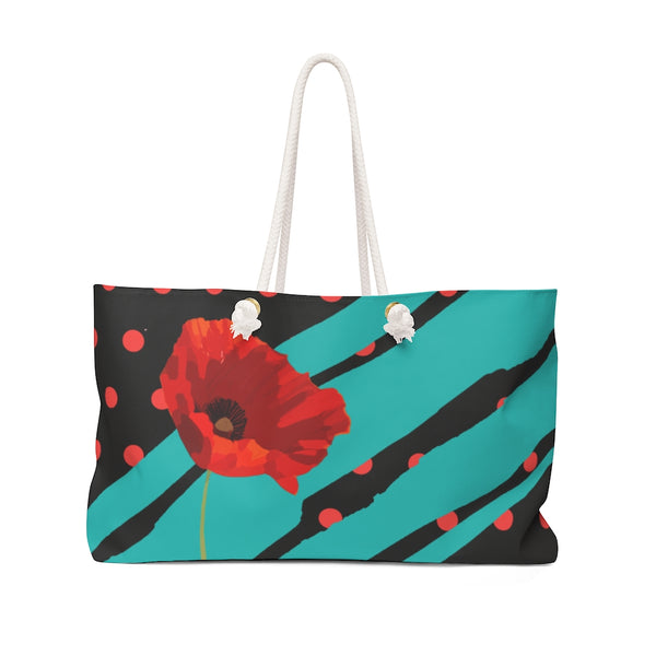 Poppy Dot Tiffany on Black Weekender Bag | Just Abi Collection