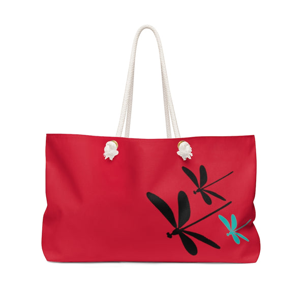 Dragonflies Crimson Weekender Bag | Abi C Designs