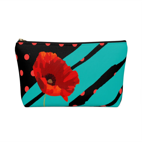 Poppy Dot Tiffany on Black Accessory Pouch | Abi C Designs