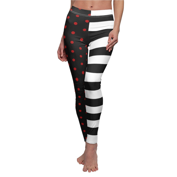Stripy Dots Red Dots, White Stripes, Black Casual Leggings | Abi C Designs