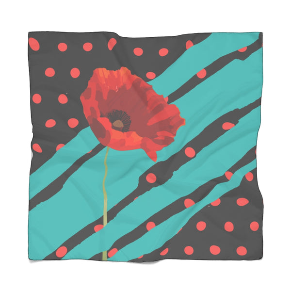 Poppy Dot Scarf Tiffany on Black | Just Abi Collection