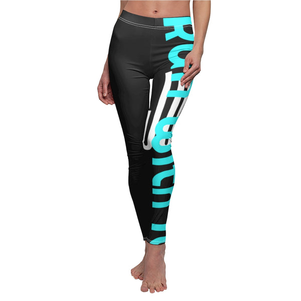 Run With It - Rainbow - Bicycling Blue on Black | Leggings