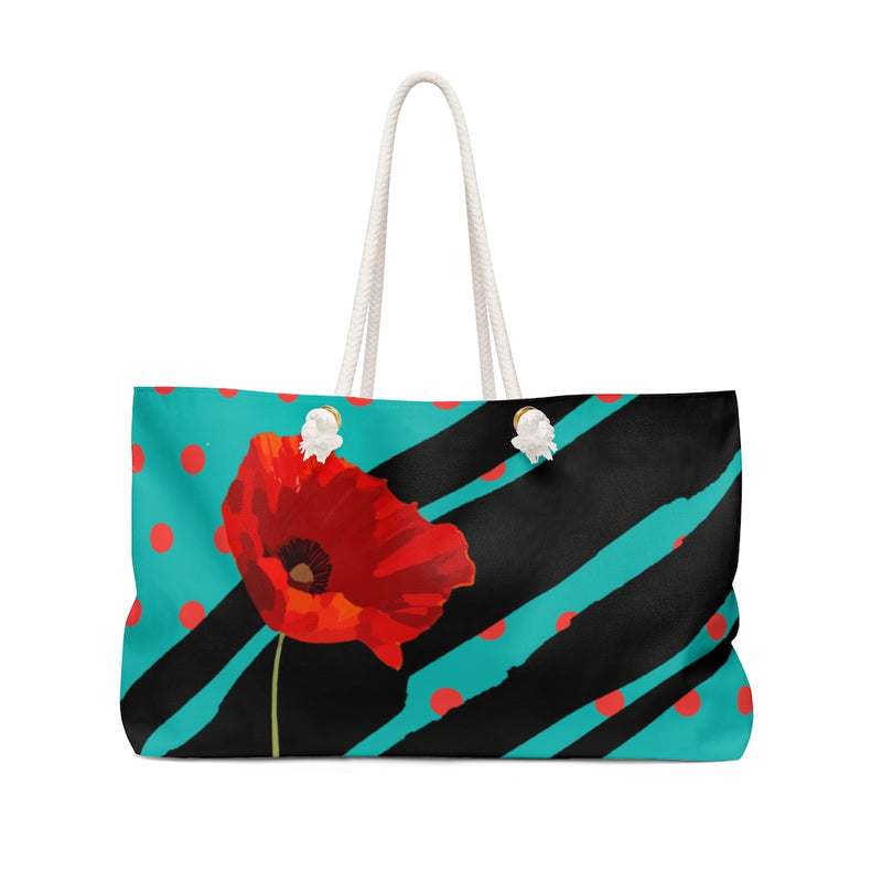 Poppy Dot Black on Tiffany Weekender Bag | Just Abi Collection