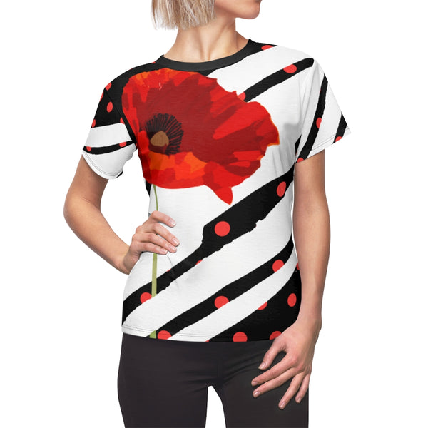 Poppy Dot White on Black Tee | Just Abi Collection