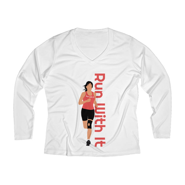 Run With It - Jen | Long Sleeve Performance V-neck Tee