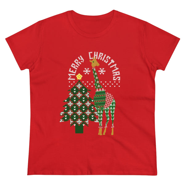 Giraffe in an Ugly Christmas Sweater Unisex Heavy Cotton Tee