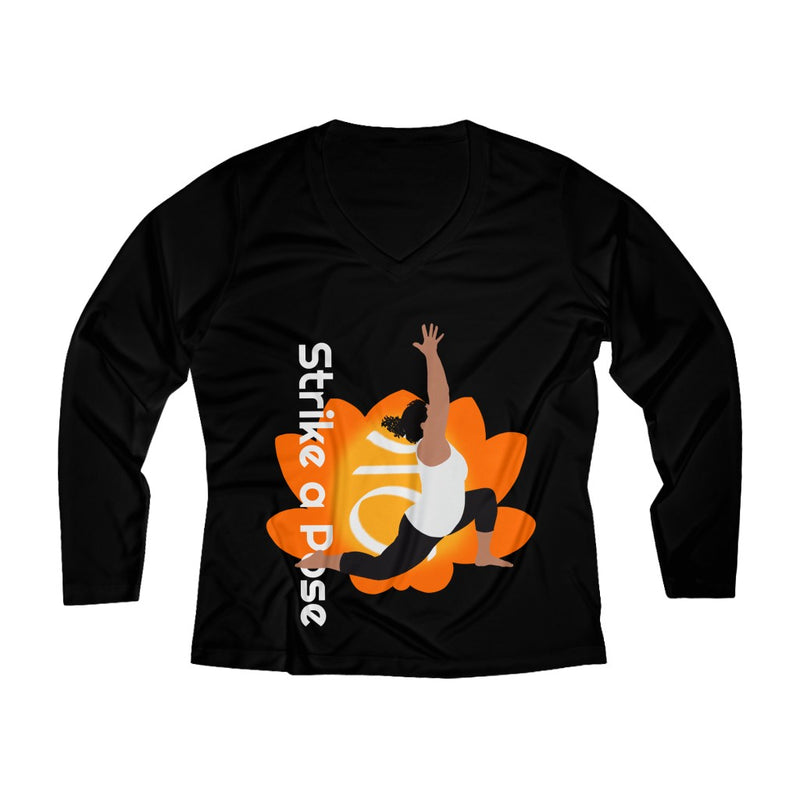 Strike a Pose - Anjaneyasana Low Lunge Pose | Long Sleeve Performance V-neck Tee