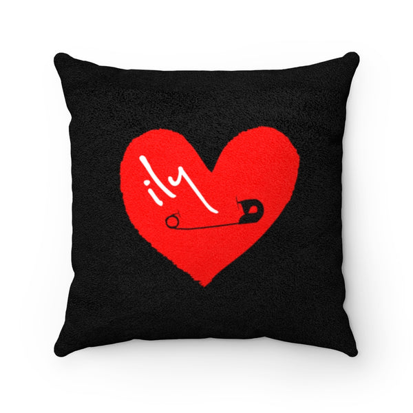 Passion: Heart Pinned to My Sleeve Faux Suede Square Pillow | Abi C Designs
