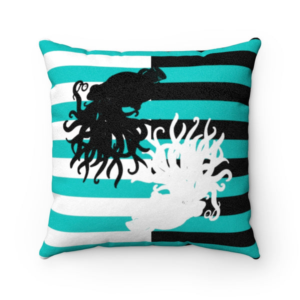 Cthulhu Stripe Gentlemen Tiffany Faux Suede Square Pillow | Abi C Designs