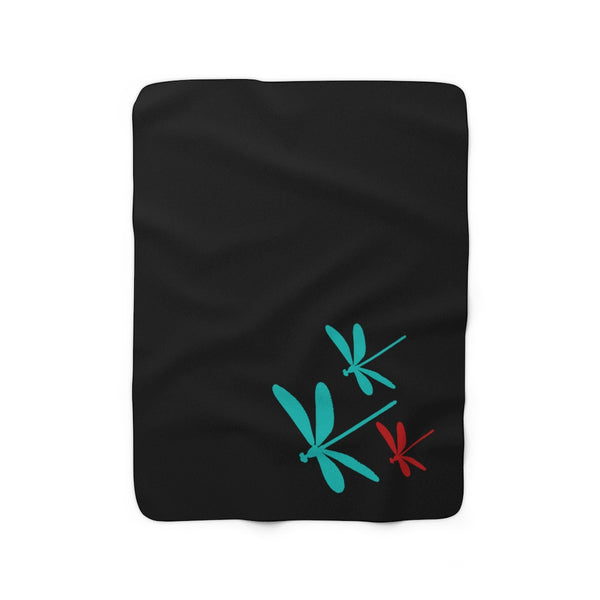Dragonfly Sherpa Fleece Blanket |Abi C Designs