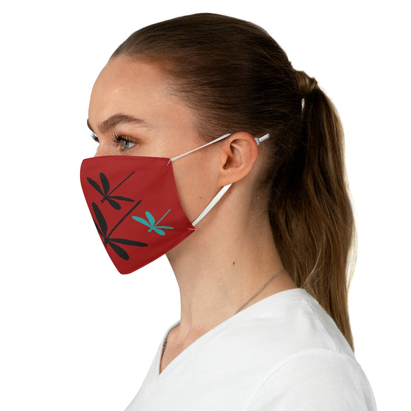 Dragonflies Fabric Face Mask Crimson