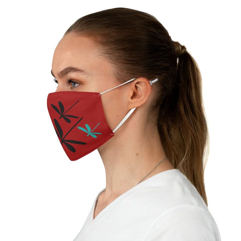 Dragonflies Fabric Face Mask - Crimson | Just Abi Collection