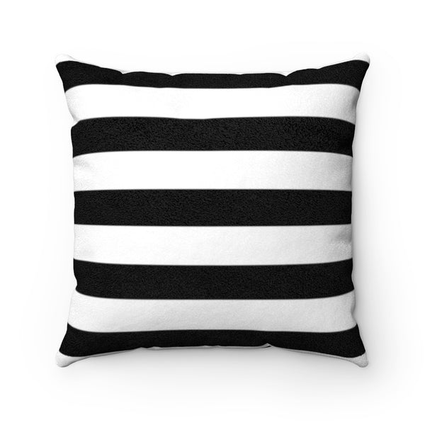 Stripy Dots Black & White Faux Suede Square Pillow | Abi C Designs