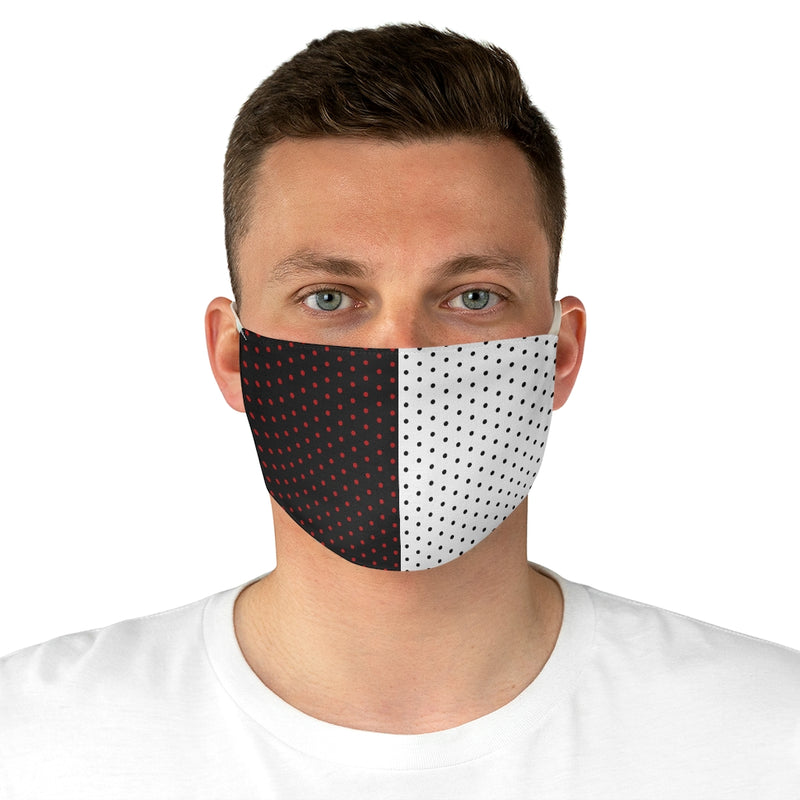 Stripy Dots Red and White and Black All Over Fabric Face Mask | Just Abi Collection