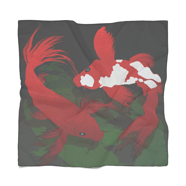 Red Koi in Dark Waters Scarf | Abi C Designs