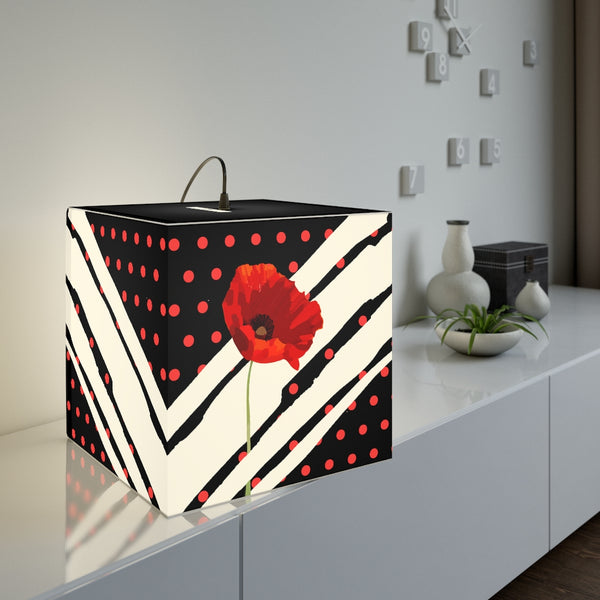 Poppy Dot White on Black Light Cube | Abi C Designs