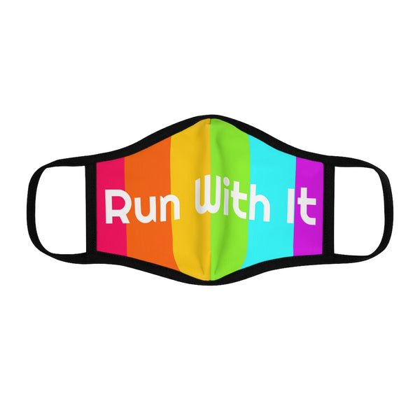 Run With It - Rainbow | Fitted Polyester Face Mask | Just Abi Athletic Collection