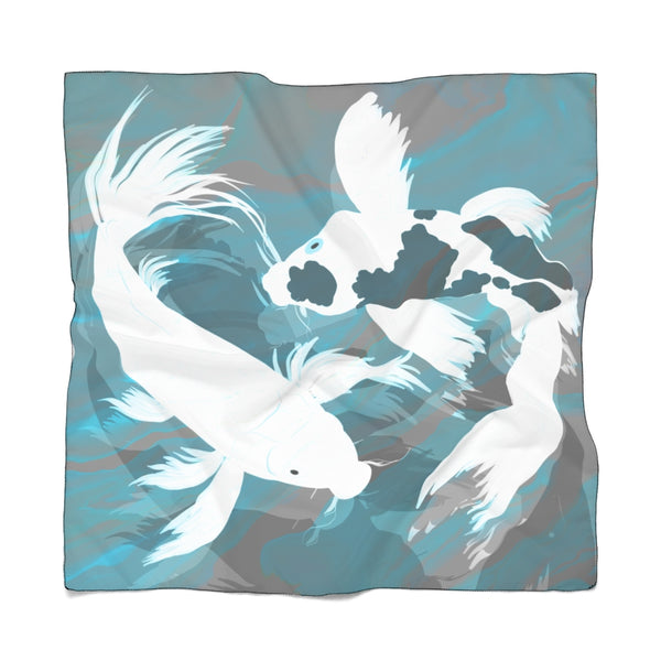 White Koi in Blue-Grey Waters Scarf | Abi C Designs