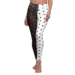 Stripy Dots Red on Black, Black on White Casual Leggings | Just Abi Collection