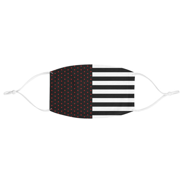 Stripy Dots Black with Red Dots and White Stripes Fabric Face Mask | Just Abi Collection