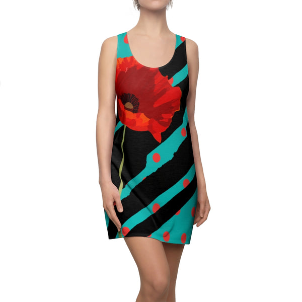 Poppy Dot Black on Tiffany Racerback Dress | Abi C Designs
