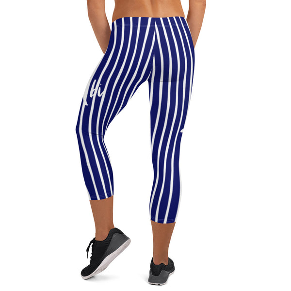 4th of July | Navy and White Capri Leggings | Just Abi Athletic Collection