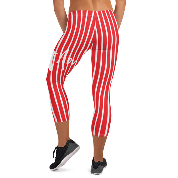 4th of July | Red and White Striped Capri Leggings | Just Abi Athletic Collection