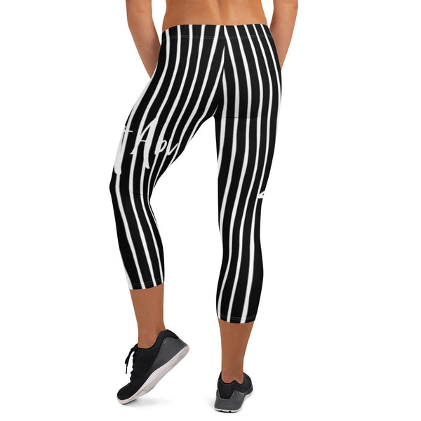 4th of July | Black and White Capri Leggings | Just Abi Athletic Collection