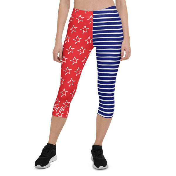 4th of July | Stars and Stripes Capri Performance Leggings | Just Abi Athletic Collection